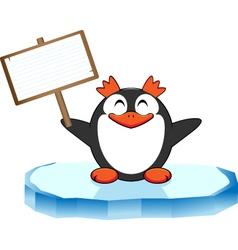 Pinguino con cartello vector