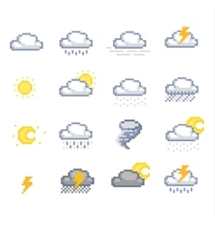 Pixel weather icons vector