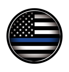 Police lives matter thin blue line flag vector
