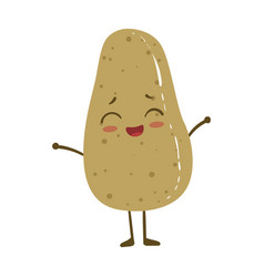 Potato cute anime humanized smiling cartoon vector