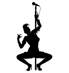 Punk musician girl striptease silhouette vector