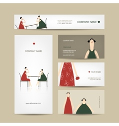 Set of business cards design friends drink tea in vector image vector image