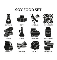 Soy food silhouette icons set vector