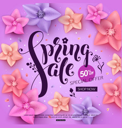 spring sale banner with colorful flowers vector image vector image