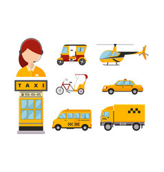 Taxi cab isolated passengers vector