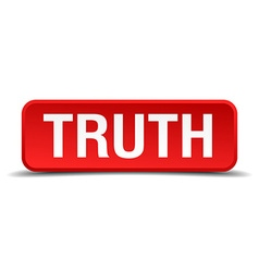 Truth red 3d square button isolated on white vector