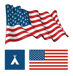 us teepee waving and flat flag vector image vector image
