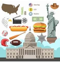 Usa culture symbol set europe travel direction vector