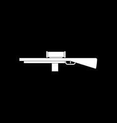 White icon on black background military sniper vector