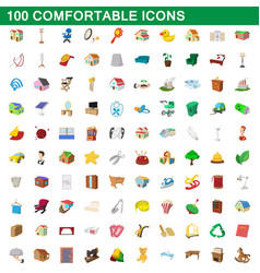 100 comfortable icons set cartoon style vector