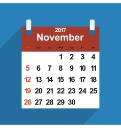 Leaf calendar 2017 with the month of november days vector