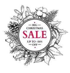 Christmas sale banner wreath hand drawn vector