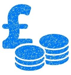 Pound coins grainy texture icon vector