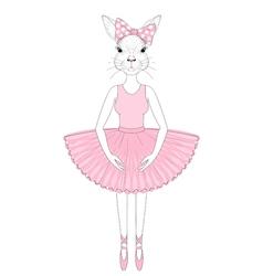cute bunny girl in dress like ballerina Hand drawn vector image