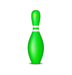 Bowling pin in green design with white stripes vector