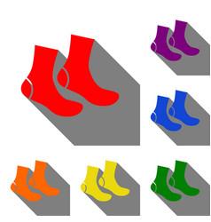 socks sign set of red orange yellow green vector image