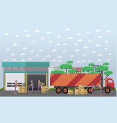 Logistics warehouse in flat vector
