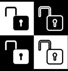 Unlock sign   black and white vector