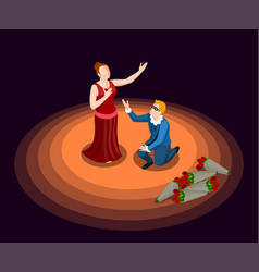 Theatre isometric icon vector