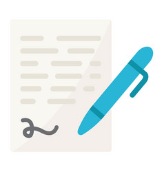 Pen signing flat icon business contract signature vector