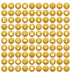 100 astronomy icons set gold vector