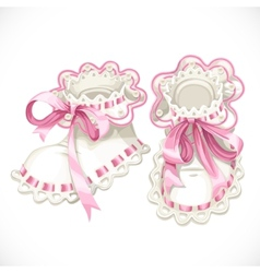 Pink booties for newborn vector
