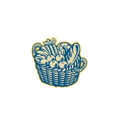 Crop harvest basket retro vector