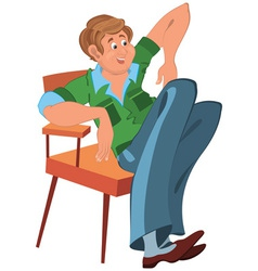 Happy cartoon man sitting in armchair in green vector