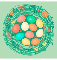 Happy easter card with colored eggs in nest vector