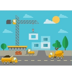 Construction process with construction machines vector