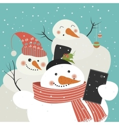 Cute snowmen take a selfie vector