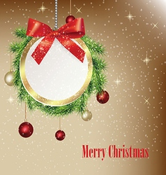 Christmas greeting round banner vector