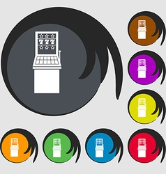 Slot machine icon symbols on eight colored buttons vector