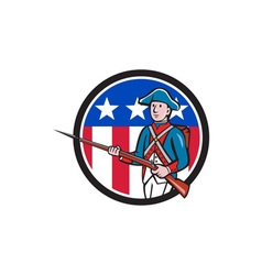 American revolutionary soldier usa flag circle vector