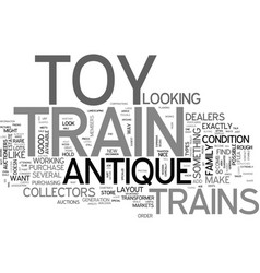 antique toy trains for sale text word cloud vector image vector image