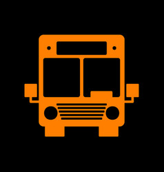 Bus sign orange icon on black vector