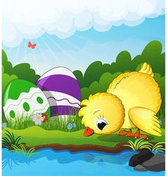 Chicken and easter eggs near the creek vector