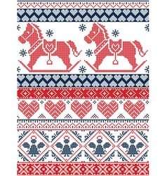 Christmas pattern with rocking horse in red blue vector