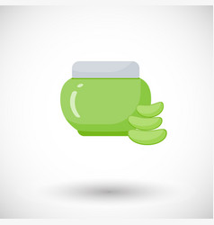 Cosmetic jar aloe vera product flat icon vector