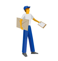 Delivery man holding big envelope and papers vector