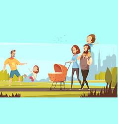 Family outdoor retro cartoon vector