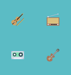 flat icons fiddle radio acoustic and other vector image vector image