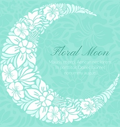 Floral design decorated crescent moon vector