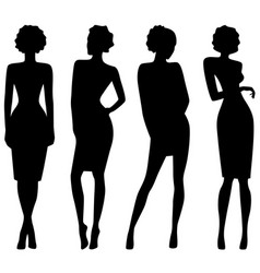 Four slim attractive women silhouettes vector
