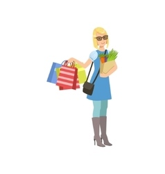 Girl With Paper Bags In Shopping Mall vector image