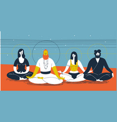 group of people sitting in yoga posture and vector image