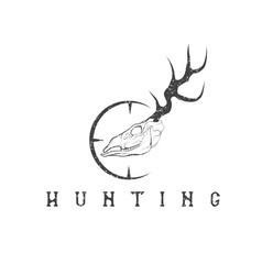 Grunge deer skull with target design template vector