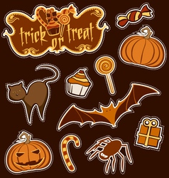 halloween sticker set vector image vector image