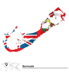 Map of Bermuda with flag vector image