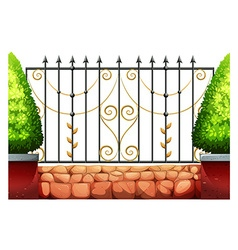 Metal fence with classic design vector